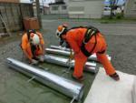 パンザマストの建柱工事:北海道 厚岸町