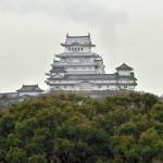 白鷺城を仰ぎながらの鉄塔工事:兵庫県姫路市